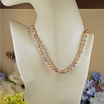"17"" lavender cultured freshwater pearl necklace, hand-knotted AAA round pearls, white rondele crystals, .925 sterling silver filigree clasp"