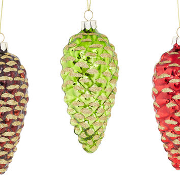 """Asst. of 3 5"""" Glass Pinecone Ornaments, Ornaments"""