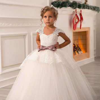 Christmas Dress Under 60$ Lace Flower Girl Dresses White First Communion Dress Pageant Kid's Dress Vestidos Comunion Ninas 2016