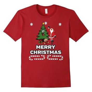 Drunk Santa T-shirt Merry Christmas Tree Snowflakes