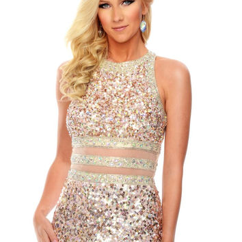 Precious Formals P9165 Faux Two Piece Sequin Prom Dress