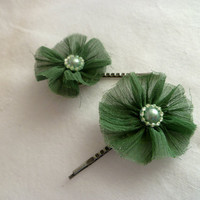 Vintage Inspired Hair Pin With Sheer Green Ruffles, Green Beads and Pearls - Set of 2