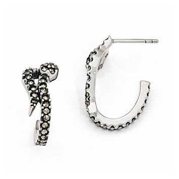 Sterling Silver Marcasite Snake Post Earrings