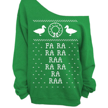 Merry Christmas - Ugly Christmas Sweater - Green Slouchy Oversized CREW - Fa Ra Ra