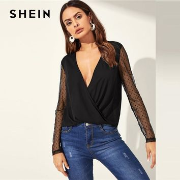 Black Deep V Neck Sheer Long-Sleeve Blouse