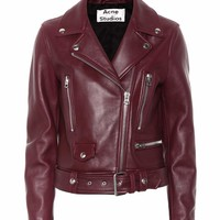 Mock leather biker jacket