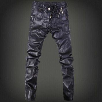 DCCKON3 Mens skinny jeans overalls motorcycle jeans men pu leather pants patchwork denim biker jeans leather joggers size 28 37