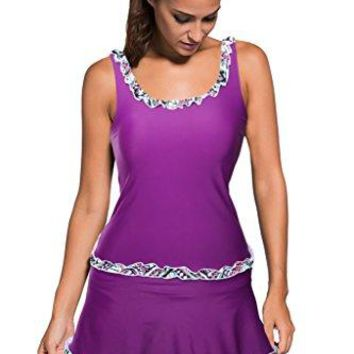 MILAKOO Womens Tankini Set Purple Ruffle Trim Tank Top Skirted Bottom Swimsuit with Plus Sizes