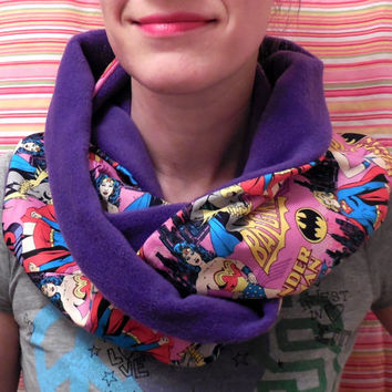 Pink Wonder Woman Infinity Scarf - Supergirl Infinity Scarf - Batgirl Infinity Scarf - Soft Warm Purple Fleece - Woman Teen Pre-teen Girl