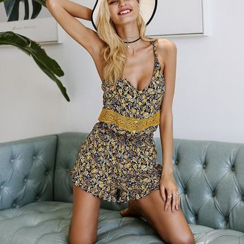 Yellow Lace Floral Romper