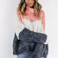 Big Cities Color Block Oversized Chenille Turtleneck Pullover Sweater