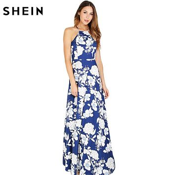 SHEIN Womens Summer Maxi Dresses  Ladies Boho Dress Sleeveless Blue Halter Neck Floral Print Vintage A Line Dress