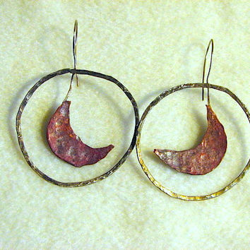 Large copper and sterling Crescent Moon hoops