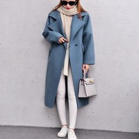 Women Wool Coat 2017 Spring Winter Coats  Blue Pink Long Wool Coat Oversized  With Quilting Winter Warm Trench J16DD0429