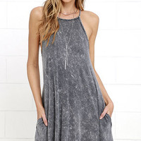 Over the Moon Washed Grey Swing Dress