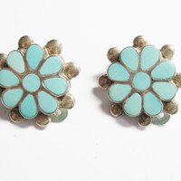 Turquoise Flower Earrings Clip Ons Sterling Vintage Zuni