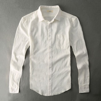 Cotton Linen Casual Shirt Men White Shirt Long Sleeve Male Slim Fit Style