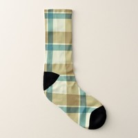 Beige Brown Green Plaid Pattern Socks