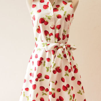 Ready to Ship - Shirt Dress, Strawberry Dress, Vintage Inspired Party Dress, White Tea Dress, White Summer Casual Working Dress, S,M,L,XL