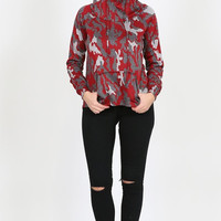 Red Camo Hoodie with Pockets