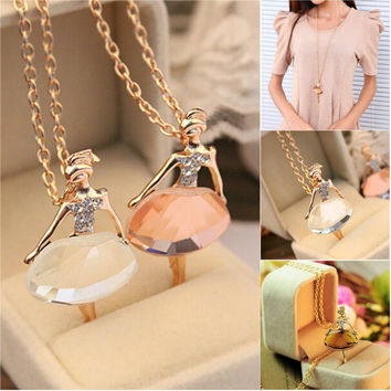 New Ladies Girls Fashion Cute Ballet Girl Pendant Choker Crystal Chain Necklace Lovely Jewelry Party
