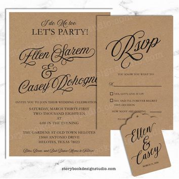 I Do, Me Too Wedding Invitation Set