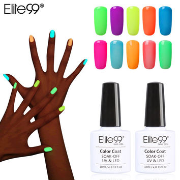 Elite99 10ml Fluorescent Neon Luminous Nail Polish 24 Candy Color LED UV Gel Night Glow In Dark Women Nail Gel Polish Pick 1