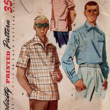 Retro 1950s Simplicity Sewing Pattern Men's Casual Dress Shirt Pullover Top Wide Collar Polo Golf Shirt Uncut Size Small