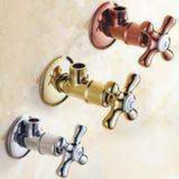 """Faucet Replacement Parts 1/2"""" X 1/2"""" Gold Brass Angle Stop Valve For Toilet Or"""