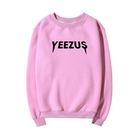 Yeezus Fashion Solid Long Sleeve Scoop Neck Top Sweater Pullover