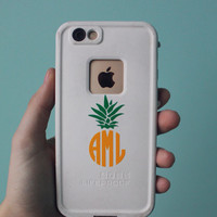 BOGO Pineapple Monogram Decal- Pineapple monogram sticker- Monogram Decal- Waterproof Monogram- Dishwasher safe monogram decal