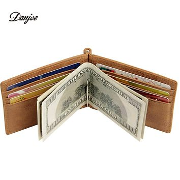 Genuine Leather Money Clips Male Vintage Slim Design Money Clip Wallet Men Purses