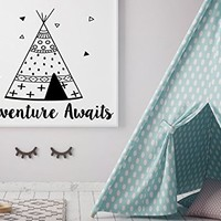 Wall Decals Adventure Awaits Vinyl Stickers Wigwam Decal Nursery Rustic Family Decor Teepee Art Decorations for Home Bedroom Playroom NS1085 (18x22)