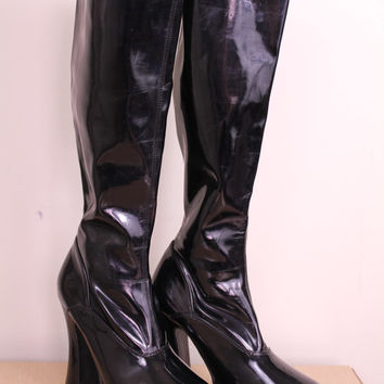 Vintage - 90s - Goth - Fetish - Club Kid - Black - Patent Vinyl - PVC - Pull Up - Knee Hi - Platform - High Heel Boots - 7.5/8
