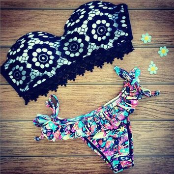 Beach Summer Hot New Arrival Swimsuit Sexy Lace Print Swimwear Bikini [9624660679]