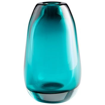 Blown Ocean Small Cerulean Blue Art Glass Vase by Cyan Design