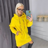 OFF-WHITE Women Hot Hoodie Cute Sweater Dress Yellow