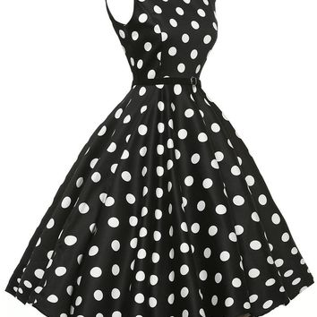 Chicloth Stylish 50's Retro White Polka Dot Swing Dress in Black