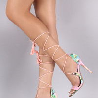 Qupid Abstract Floral Tassel Lace Up Stiletto Heel