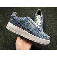 Supreme x LV x Nike Air Force One 1 Trendy Denim Sneakers Casual Shoes F/A