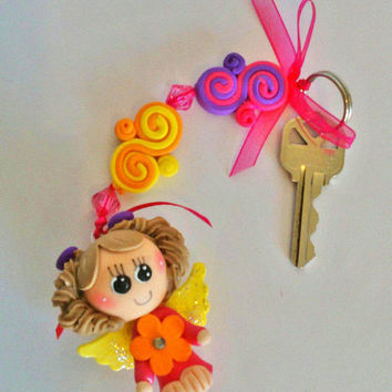 Angel Girl baby shower key hanging polymer clay, Quinceañera gift keyring, Baptism favor keychains, christening favor, first Communion gift