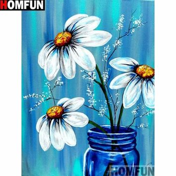 5D Diamond Painting White Daisies in a Blue Glass Jar Kit