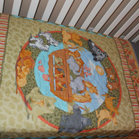 Noah's Ark Themed Quilted Crib Blanket