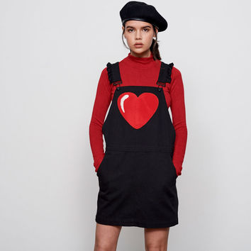 Lazy Oaf Chenille Heart Pinafore Dress - View all - New In - Womens