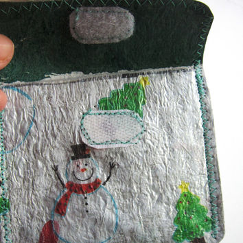 Upcycled Fused Plastic, Christmas Gift Card Holder, Change Purse, Card Holder Handmade from Recycled Repurposed Plastic Bags, Snowman