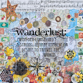 wanderlust poster travel art map print 16 x 16 large paper PRINT mixed media art sunflowers compass rose