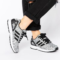 adidas Originals ZX Flux Weave Black Geo Print Trainers