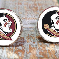 Groomsmen gifts, Florida State Seminoles inspired cuff links, college sports Cufflinks gift set. Made in USA, gift under 25, gifts for guys