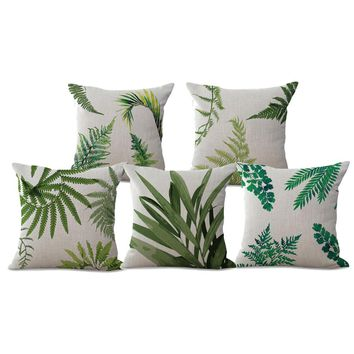 Manufacturers Selling Green Plants Leaves Printing Cotton Linen Decorative Throw Pillow Sofa Office Chair Lumbar Cushion