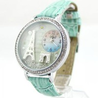 Mint Green Polymer Clay Eiffel Tower Watch by forevervintage on Zibbet